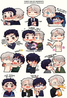 """girlwiththewhiterabbit: """"did these while binge watching YOI from the beginning and quickly doodled out some favorite parts! there's just too much to love in every scene, i kinda want to draw them all haha! I printed some last minute for the event,..."""
