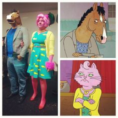 Diy Bojack Horseman and Princess Carolyn Halloween Costumes 2014. Hand Painted mask, sweater and dress. Hand Cut wig. by Kathy Ketamine and Bryant Chavs.