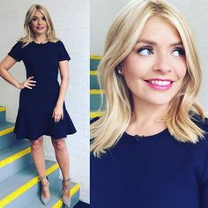 Thursday's look on dress by /bananarepublic/ and shoe by Holly Willoughby Hair, Medium Hair Styles, Short Hair Styles, Hair Medium, Stylish Outfits, Fashion Outfits, 2000s Fashion, Stylish Clothes, Work Outfits