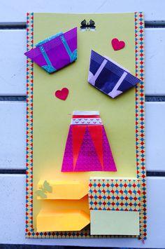 Post it origami con borsette e vestitini