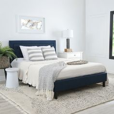 Shop Abbyson Karlyn Navy Blue Tufted Upholstered Bed - On Sale - Overstock - 25612816 - Upholstered/Wood - Full Navy Blue Bedding, Navy Blue Bedrooms, Blue Master Bedroom, Blue Bedroom Decor, Blue Rooms, Bedroom Ideas, Master Suite, Bedroom Inspiration, Nautical Bedroom