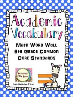 Math Word Wall 5th Grade Common Core Academic Vocabulary -