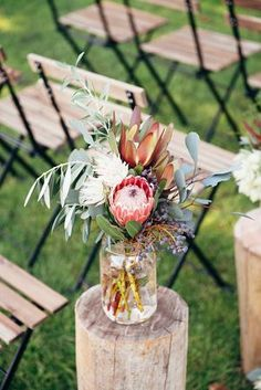 Rustic Winter Orchard Wedding Inspiration - Tying the Knot - Protea Wedding, Wedding Table Flowers, Rustic Wedding Centerpieces, Wedding Table Decorations, Floral Wedding, Wedding Bouquets, Wedding Rustic, Trendy Wedding, Graduation Centerpiece