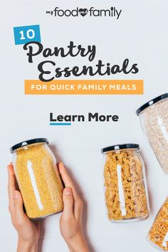 Learn about the 10 pantry staples you should keep on hand to put together quick family meals. My Food and Family has tips on the top pantry essentials. Emergency Food Storage, Canned Food Storage, Quick Family Meals, Quick Weeknight Meals, Pantry Essentials, Canning Recipes, Top Recipes, Pots, Dehydrated Food