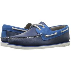 Sperry Top-Sider Gold A/O 2-Eye Two-Tone (Navy/Blue) Men's Moccasin... (£120) ❤ liked on Polyvore featuring men's fashion, men's shoes, men's loafers, sperry top sider mens shoes, mens moccasins shoes, sperry mens shoes, mens deck shoes and mens moccasins