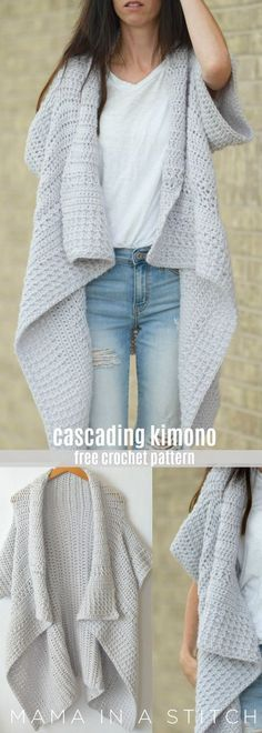This super easy crocheted kimono is so pretty. A simple, free pattern includes photos on how it's assembled by @mamainastitch. via @MamaInAStitch