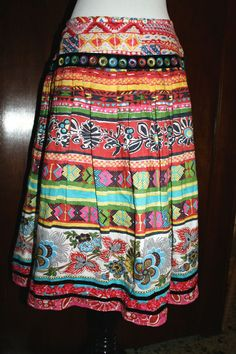 Gypsy Art to Wear Boho Peasant Skirt 12 L Tiered Tribal Print A Line Banjara #WDNY #ALine