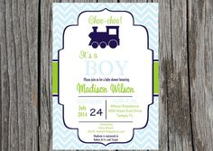 Train baby shower Invitation - High quality images that you can print from home! Available now in 5x7 jpeg or PDF ONLY. **NOT sized for VistaPrint PLEASE READ ENTIRE LISTING BEFORE PLACING ORDER! :) Party Package info on the bottom of the listing. CHOOSE: Jpeg: for photo retail or