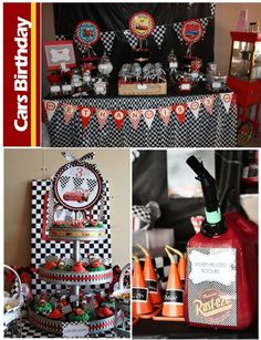 Disney Cars Birthday Party-Love the plastic play gas can as a drink pitcher!