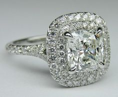 Cushion Diamond Double Halo Pave Engagement Ring in White Gold. Custom made to fit the cushion diamond of your choice from carat and up. Engagement Ring Images, Double Halo Engagement Ring, Engagement Rings Cushion, Antique Engagement Rings, Solitaire Engagement, Most Expensive Engagement Ring, Expensive Wedding Rings, Expensive Rings, Expensive Jewelry
