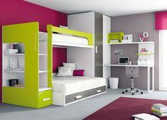 Hochbett Leiter Gelb-Pink Holz-Möbeldesign Kinderzimmer-ros 1