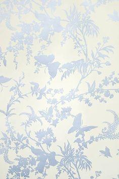 Tropical Floral Wallpaper Striking cream wallpaper with metallic blue, tropical floral design.