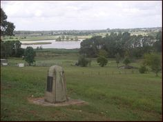 Plaque at Pitt Town looking west and marking the level of the `Terrible Flood of 23 June 1867'. Hawkesbury River reached a height of 63 feet 2 inches