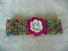 Haarband mit Gummi und Blume  aus Baumwollgarn