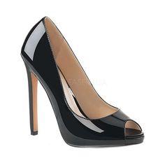 Women's Pleaser Sexy 42 Peep Toe Pump - Black Patent Heels