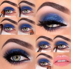 Dark Blue n Silver Glitter Eyeshadow - Nails | Bellashoot