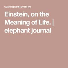 Einstein, on the Meaning of Life. | elephant journal