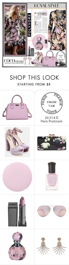"""Polyvore Royal Style"" by polyvore-suzyq ❤ liked on Polyvore featuring Kate Spade, JustFab, Ted Baker, Deborah Lippmann, Lipstick Queen, Lanvin and Chanel"