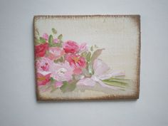 Bouquet of Roses Painting  Dollhouse 1 Inch by cinderellamoments, $6.00