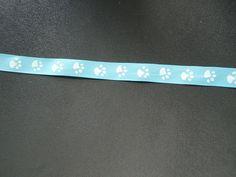 ruban gros grain bleu, empreintes de pattes blanches : Rubans par les-petites-serviettes-de-cathy