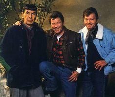 Leonard Nimoy, William Shatner and DeForest Kelley on set filming Star Trek V The Final Frontier