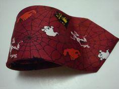 HALLOWEEN NECK TIE Spider Pumpkins Bats NeckTie Costume Red Skeleton NeckTie #NeckTie #Halloween #Tie
