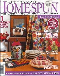 Homespun vol 8 - number 1 issue 44 jan 2007 - Picasa Web Albums 143 pages plus patterns appears to be complete save Sewing Magazines, Magazine Crafts, Country Quilts, Picasa Web Albums, Painted Books, Book Quilt, Journal, Pattern Books, Book Crafts