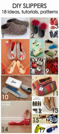 DIY and inspiration: 18 slippers ideas (inspiration&realisation: DIY Fashion & Home - Hastag Stalk Crochet Shoes, Crochet Slippers, Knit Crochet, Fabric Crafts, Sewing Crafts, Sewing Slippers, Crochet Projects, Sewing Projects, Sewing Patterns