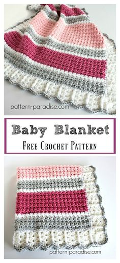 Crochet Afghan Patterns Essentials Baby Blanket Free Crochet Pattern - The Essentials Baby Blanket Free Crochet Pattern works up quickly. It is so soft in the bulky yarn. It's easy to adjust sizing and color. Crochet Afghans, Crochet Baby Blanket Borders, Crochet Border Patterns, Crochet Baby Blanket Beginner, Bag Crochet, Crochet Motifs, Crochet Quilt, Manta Crochet, Afghan Patterns