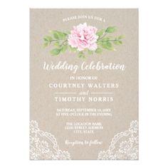 Rustic Lace Kraft Watercolor Flower   Wedding Lace Invitations, Wedding Invitation Size, Beautiful Wedding Invitations, Yosemite Wedding, Wedding Cards, Wedding Pins, Watercolor Flowers, Pink Flowers, Wedding Flowers