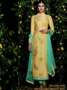 Yellow with Skyblue Floral Embroidery Straight Suit