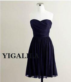 Lady dress/bridesmaid dress/wedding dress/strapless/Chiffon Prom Dresses/knee-length/navy on Etsy, $58.00