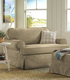 Beau Pine Point Slipcovered Sleeper Chair And A Half, Linen Blend: Chairs At L.