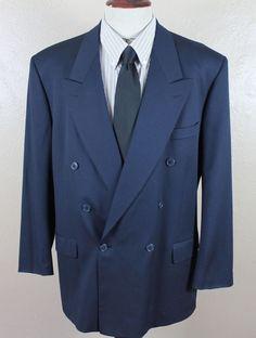 Yves Saint Laurent YSL Blazer Sport Coat 44L Double Breasted Navy Blue 100% Wool #YvesSaintLaurent #DoubleBreasted