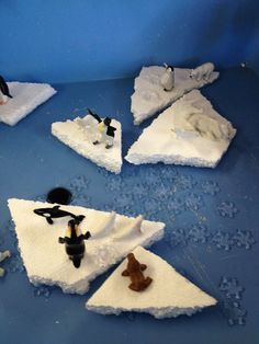@Terry Song Song Song Pettinger - sensory bins with creatures floating on styrofoam icebergs :)