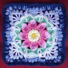 Crochet Flower Squares, Crochet Squares Afghan, Crochet Blocks, Granny Square Crochet Pattern, Afghan Crochet Patterns, Crochet Motif, Crochet Stitches, Knitting Patterns, Granny Squares