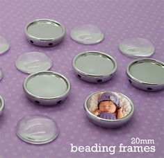 8 Pack Round Photo Beading Frames W/ 20mm Glass