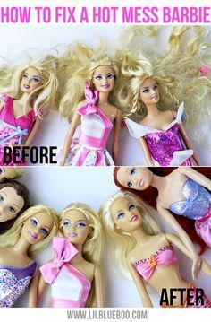"How to fix a hot mess Barbie... I don't have a little girl, but I think this is good to know. Let you're daughter help and make it a fun ""spa day"" for the dolls."