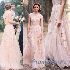 2016 pink lace applique cap sleeves wedding dress ,prom dress