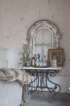 Rustic bar--perfect with mirror inserts in the window = wonderful dressing table