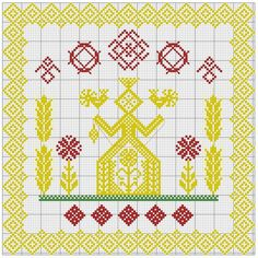 With wheat & flowers Russian Embroidery, Folk Embroidery, Cross Stitch Bird, Cross Stitching, Fabric Toys, Repeating Patterns, Hama Beads, Blackwork, Stitch Patterns