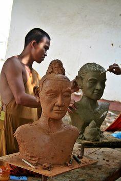 Luang Prabang Sculptor In The Street A