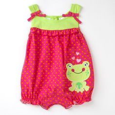 This is one of my favorites on totsy.com: Infant Heart Romper with Frog Applique