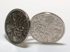 1967 Sixpence Cufflinks 47th birthday. by OldCoinCufflinks, $16.99