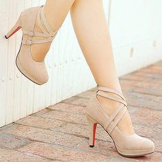 Gender: WomenItem Type: PumpsShoe Width: Medium(B,M)Process: AdhesiveSeason: Spring/AutumnClosure Type: Lace-UpToe Shape: Round Toeis_handmade: YesUpper Material: FlockInsole Material: TPRHeel Height: High Platform High Heels, High Heel Pumps, Women's Pumps, Stiletto Heels, Nude Heels, Beige Heels, Women's Shoes, Shoe Boots, Golf Shoes