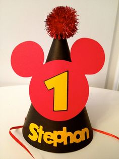Personalized Mickey Mouse Clubhouse Birthday Party Hat with Ears and Pom Pom. $12.00, via Etsy.
