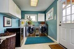 This waterproof Coretec vinyl flooring handles double duty against both laundry spills and entryway messes.