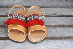 Red Fringe Greek Sandals by KandElphy