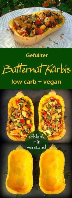 Gefüllter Butternut Kürbis low carb Rezept #lowcarb #abnehmen #vegan # Rezept #deutsch #schlank #schlankmitverstand #food #foodblog #foodblogger