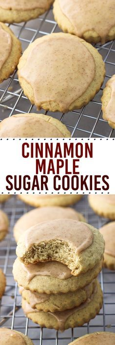 Cinnamon maple sugar cookies are tender and cinnamon-spiced, with a hint of maple flavor in the dough. Top with an easy, quick-setting cinnamon glaze and these are ready to serve! (easy sugar cookies quick and) Köstliche Desserts, Delicious Desserts, Dessert Recipes, Yummy Food, Quick Easy Desserts, Holiday Baking, Christmas Baking, Christmas Cookies, Thanksgiving Cookies